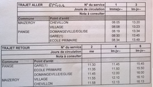 horaires bus EPG01