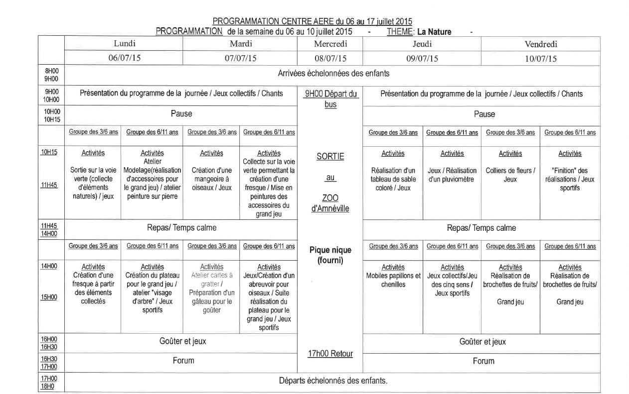 Célèbre planning du centre aéré | SIVU scolaire de Pange OI06